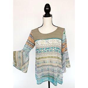 UMGEE Bell Sleeve Sheer Boho Chic Aztec Blouse - S